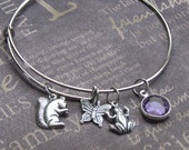 Silver Charm Bangle • Woodland • Adjustable Bracelet • Alex and Ani Style • Squirrel • Frog • Butterfly • Mother's Day • Valentine's • Gift