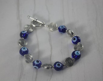 Pewter Blue Glass Evil Eye Bracelet