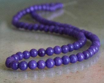Purple Mountain Jade Gemstone Beads 4mm Round Full Strand
