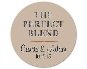 Personalized Wedding Stickers - The Perfect Blend - Favor Stickers - Casual Wedding - Rustic Stickers - Coffee Favor Labels