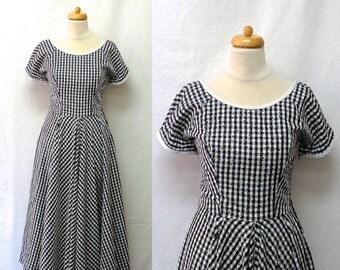 1950s Vintage Flocked Taffeta Dress / Black & White Polka Dot Gingham Dress
