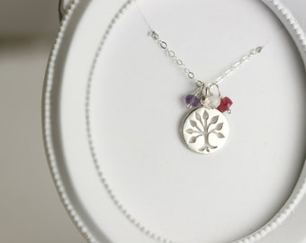 Family Tree Necklace - Mothers Day Family Tree Necklace - Silver Birthstone Necklace for Grandma - Mom Family Tree Necklace - New Mom Gift