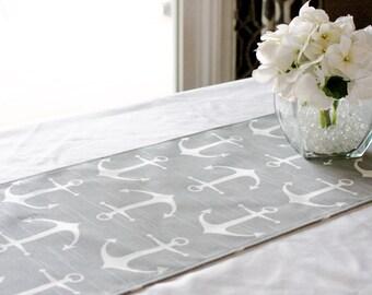 Grey Anchor Table Runner   Nautical Decor Nautical Table Runner Wedding  Table Runner Baby Shower Wedding