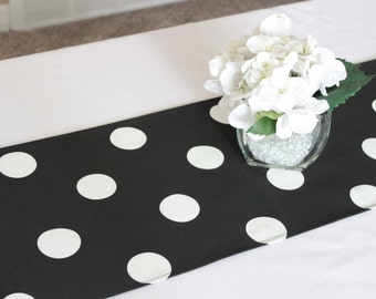 Black and white polka dot table runner, Choose length, polka dot birthday, First birthday, Wedding table runner, Birthday party decoration