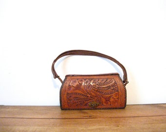 Vintage Floral Tooled Mexican Bag and Coin Purse