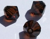 Clearance sale --  6mm Swarovski Crystal beads Bicones --  Mocca brown  -- 24 beads per package