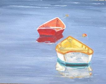 Two Friends, an original oil 11 x 14 inch (28 x 36 cm) on canvas board by Yvonne Wagner. Row boats. Canots. Rudderboot. Bateau. Bateaux.