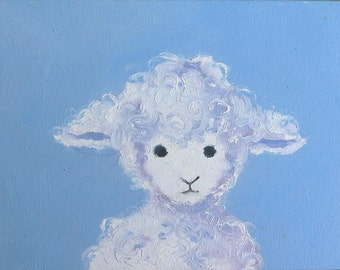 My Lamb.  6 x 8 inch (15 x 20 cm) original oil painting on canvas board by Yvonne Wagner. Nursery art.  Baby gift.  Animal. Sheep. SALE. SFA