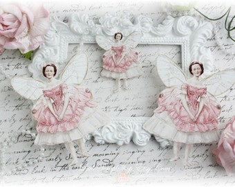 Tiny Dancer Fairy Die Cut Embellishments Pink Dress for Scrapbooking, Cardmaking, Mixed Media, Altered Art