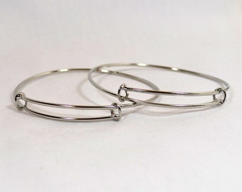 Adjustable Bangle Bracelets - Silver - Choose Your Quantity