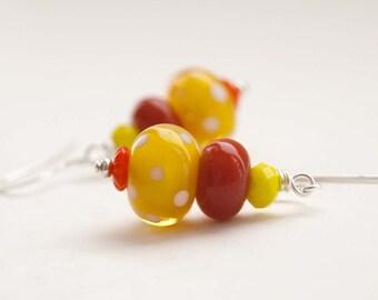 Yellow Earrings, Polka Dot Earrings, Lampwork Glass Earrings, Bright Earrings, Beaded Earrings