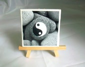 Mini Yin Yang Print on Canvas with Easel