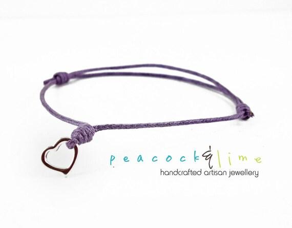Heart Wish bracelet // lilac lavender purple waxed cotton // silver plated heart charm wish bracelet // sweetheart gift // handmade