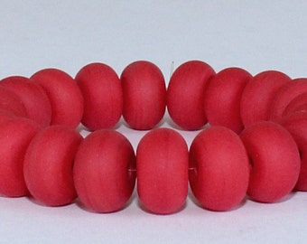 "Handmade Lampwork Beads, 20 Pieces ""Matte Red"", Size about 8.9 to 9.2 mm"