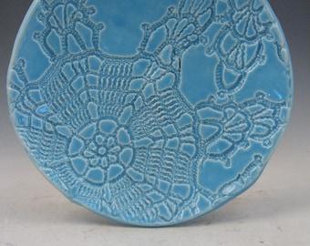 Medium Blue Handmade Ceramic Spoon Rest and Jewelry Bowl