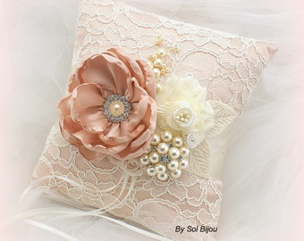 Ring Bearer Pillow, Wedding, Bridal, Blush Pillow, Lace, Ivory, Cream, Brooch, Crystals, Pearls, Vintage, Elegant, Gatsby Wedding