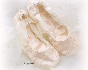 Flats, Ballet Flats, Blush, Ivory, Elegant Wedding, Vintage Style, Shoes,Flower Girl, Maid of Honor, Ballerina Slippers, Garden Wedding