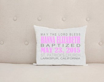 Unique Baptism Christening Gift, Personalized Baby Pillow, Girl