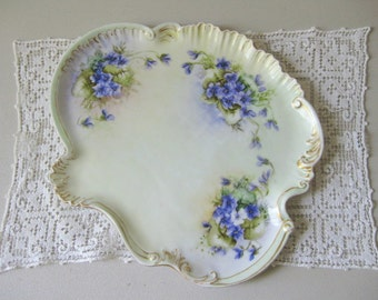 Antique Victorian porcelain dresser tray Victorian violets vanity tray
