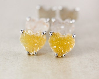 Natural Heart-Shaped Druzy Studs - Choose Your Druzy - Sterling Silver
