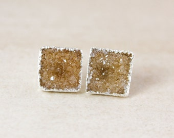 Silver Brown Druzy Studs - Choose Your Druzy - Silver