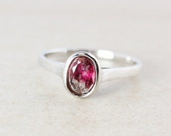 Oval Pink Tourmaline Ring - 925 Sterling Silver