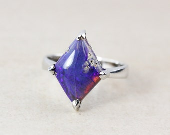 50% OFF SALE - Violet Blue Australian Opal Ring - Free Form - Silver
