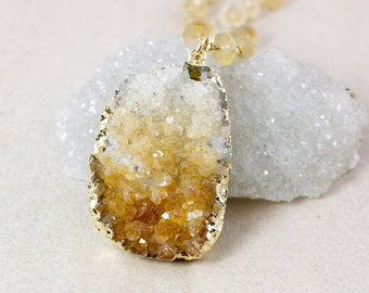 50% OFF SALE - Gold Raw Citrine Necklace - Golden Rutile Quartz Chain - Gold Pyrite
