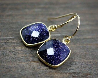 Midnight Blue Sunstone Cushion Earrings – Drop – 14K Gold Fill