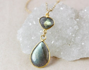 Gold Blue Labradorite Necklace – Freeform Pendant – 14K Gold Fill