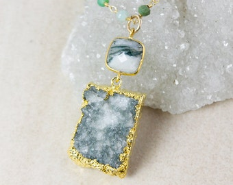 50% OFF SALE - Moss Druzy Necklace – Moss Agate – Green Chrysoprase Chain