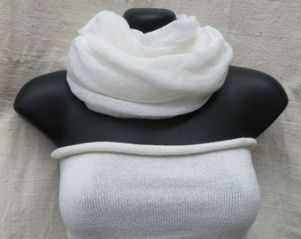 White Yoga set : Infinity loop scarf tube top hipband for Kundalini Yoga