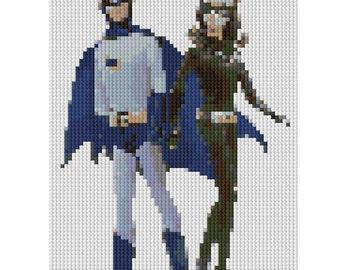 Picture of Barbie and Ken as Batman and Catwoman counted Cross Stitch Pattern  - instant download
