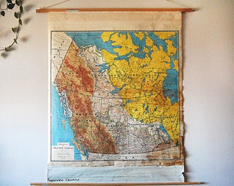 Vintage School Pulldown Map of Western Canada Industrial Rustic Home Decor