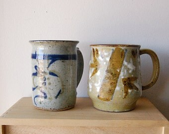 Handmade Pair of Ceramic Mugs for Coffee or Tea Earthy Zen Organic Blue and Sand.