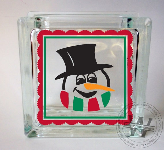 vinyl lettering for glass vinyl lettering glass block decal snowman1 by kwintersdesigns 15847
