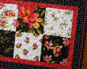 Quilted Table Runner with Roses in Red Black and White, Red Pink and Orange Flowers, Quilted Table Mat