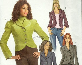 2006 Jacket Pattern Princess Seams Shaped Hemline Shawl or Notched Collar Butterick B4863 Bust 31.5 to 36 UNCUT