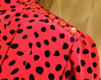 Ultra Magnetic Red Dress with Black Dots