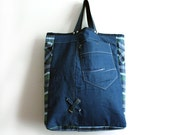 Large Tote Bag- Boho Bag- Denim Bag Oversized Shopper Canvas Jean Bag Casual Everyday Carry All Weekender Market Bag reclaimed gift for her