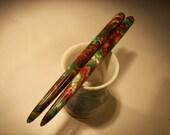 "Copper Gekco acrylic hair sticks 5 1/8"""