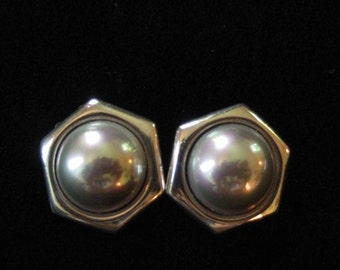Sterling Silver Mabe Pearl Earrings by Barra, Gray or Champagne