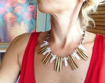 Gold Coral Sticks Antique Gold Statement Necklace Bib