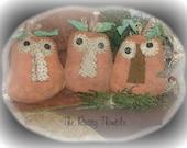 Primitive set of Three Pumpkin Heads