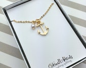 Gold Anchor Necklace  - 24 karat gold plated Anchor Necklace with pearl real gold anchor charm necklace Anchor of Hope I refuse to sink