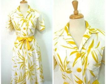 50s cotton dress Shirtwaist Yellow Floral Print Belt Easter Day Dress Size 12 Medium