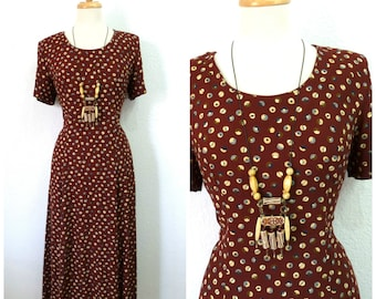 Vintage 1980s Dress Brown Polka Dot Rayon Dress M