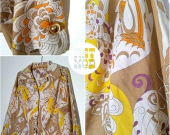 Super Psychedelic Yellow, Brown and Purple Pucci Style Cotton 60s Vintage Blouse Top Shirt - Totally FAB!