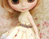 "Outfit for 12"" Blythe ,Dal ,Momoko doll: yellow dress with belt"
