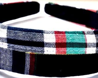 Navy Plaid Headband 1 Inch